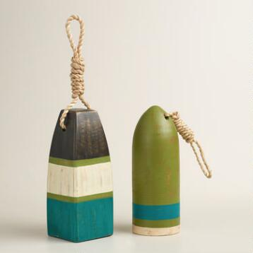 Wood Buoy Decor Set of 2